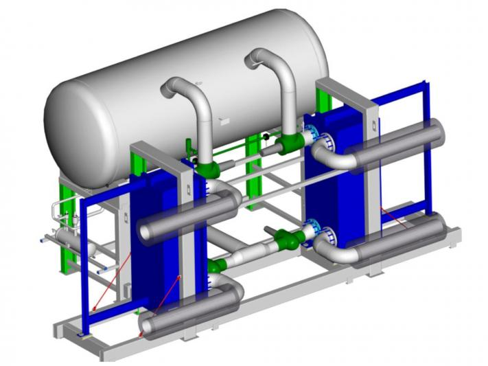 WITT plate evaporator station type PVE with 2 laterally placed evaporators