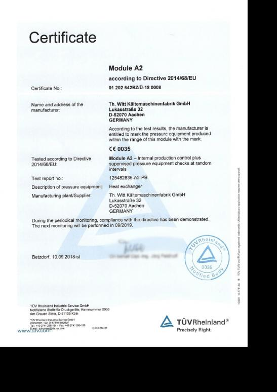 Module A2 in accordance with Directive 2014/68/EU