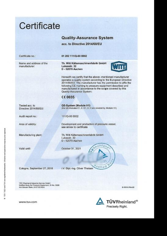 Quality assurance system in accordance with Directive 2014/68/EU
